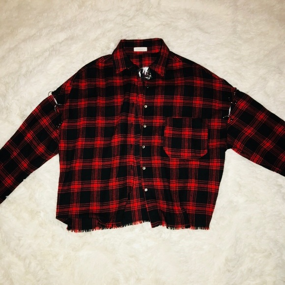 d3c1f1eade1 Lush Tops   Red And Black Flannel Crop Top Sz S   Poshmark